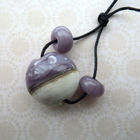 lilac moon focal lampwork glass bead