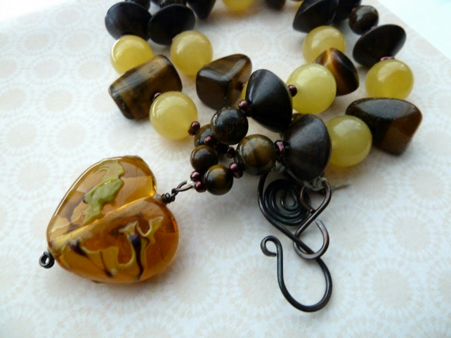 tigers eye and lemon jade lampwork necklace