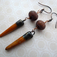 orange ceramic and copper earrings
