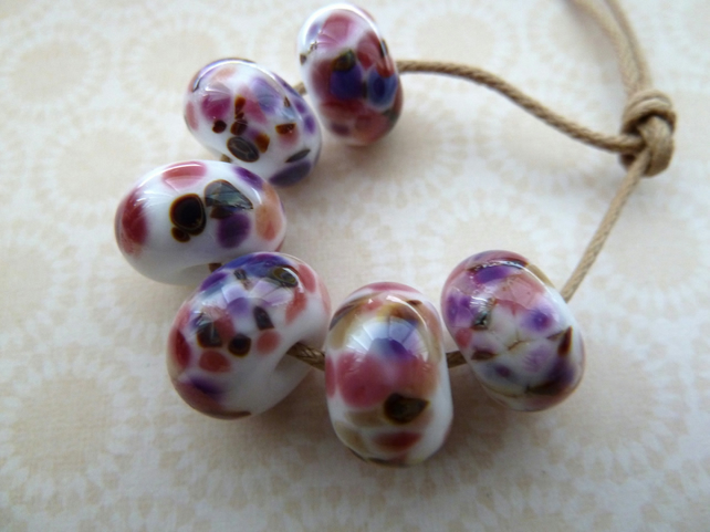 pink and purple handmade lampwork glass beads