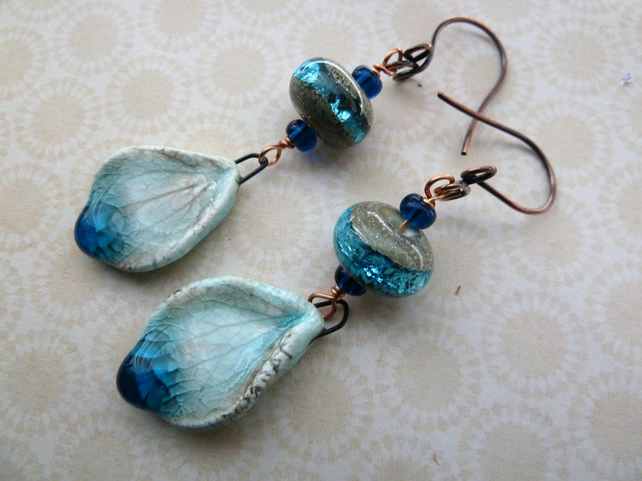 lampwork ceramic and copper wing earrings