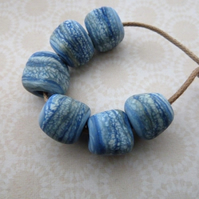 blue nugget lampwork glass beads