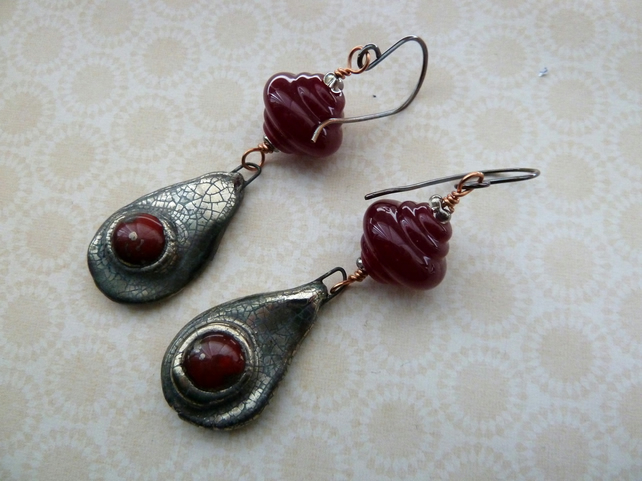 lampwork copper and ceramic red drop earrings