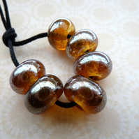 handmade lampwork gold glass beads