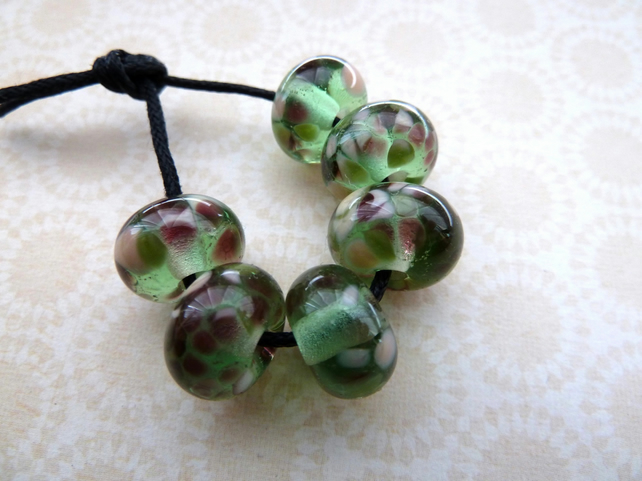 handmade lampwork green glass blossom beads