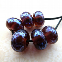 handmade lampwork purple spacer beads