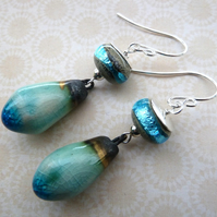 sterling silver lampwork and ceramic earrings