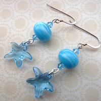 sterling silver star fish earrings