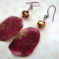 handmade lampwork and polymer clay pink leaf earrings