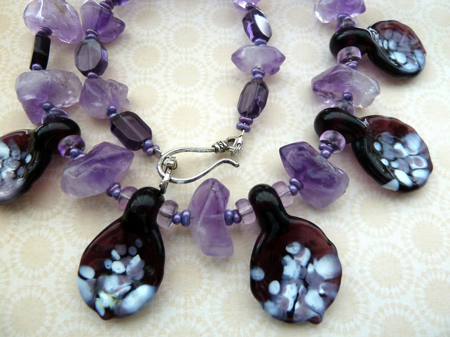 purple leaf lampwork necklace