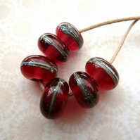 handmade lampwork red wrapped beads