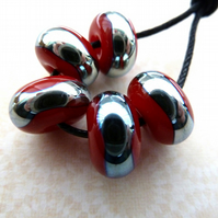 handmade lampwork glass beads, red and silver set