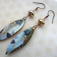 handmade lampwork and ceramic golden tears copper earrings