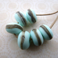 pale green handmade lampwork glass beads