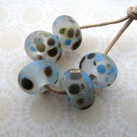 frosted blue frit handmade lampwork glass beads