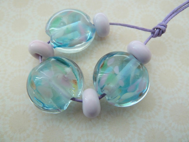 handmade lampwork pink and blue glass beads