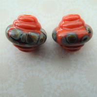 handmade lampwork orange ornate lampwork beads