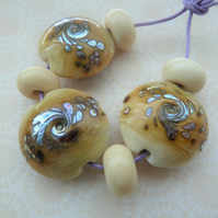 handmade lampwork glass beads, ivory and silver
