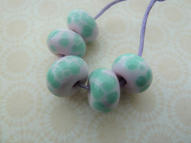pink and mint frit lampwork glass beads