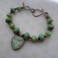 green lampwork and ceramic copper dragonfly bracelet