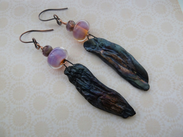 handmade lampwork and ceramic copper earrings