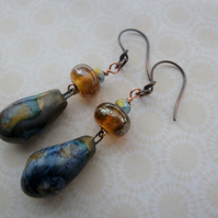 golden night handmade lampwork and ceramic copper earrings