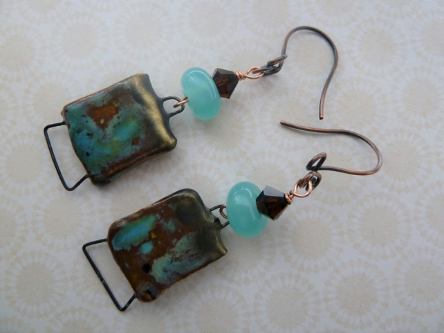 copper, lampwork and ceramic earrings