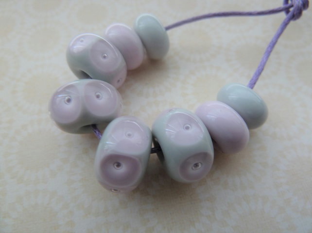 handmade lampwork grey and pink glass beads