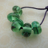 handmade lampwork green glass shard beads