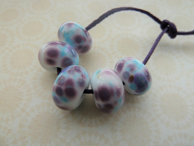 handmade lampwork purple and blue frit glass beads