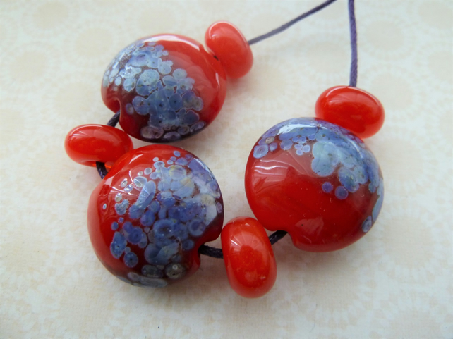 lampwork glass beads, red and purple set