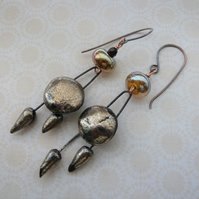 gold ceramic and lampwork copper earrings