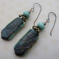 handmade lampwork and ceramic earrings, green copper pair
