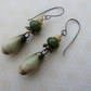 handmade lampwork and ceramic earrings, woodland copper pair