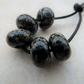 handmade black raku frit lampwork glass beads