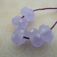 lilac frosted spot beads, handmade lampwork