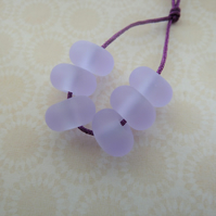handmade frosted lilac spacer glass beads