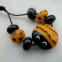 handmade lampwork bee bead set