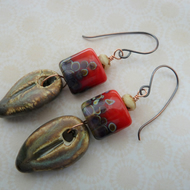 red lampwork and ceramic leaf copper earrings
