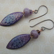 purple lampwork and copper earrings