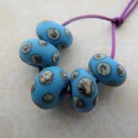 handmade blue and ivory spot lampwork glass beads