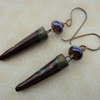 copper, lampwork and ceramic deep red earrings