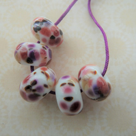 handmade lampwork glass beads, pink frit set
