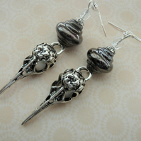 handmade lampwork bird skull earrings