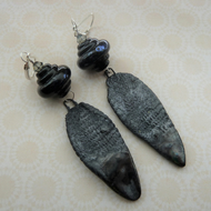 handmade lampwork and ceramic silver earrings