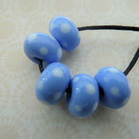 handmade lampwork blue and white spot glass beads