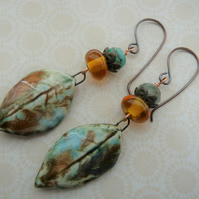 autumn leaves copper, lampwork and ceramic earrings