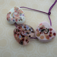 handmade pink heart lampwork glass beads