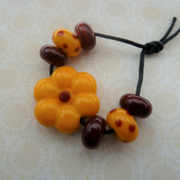 handmade lampwork flower glass bead set