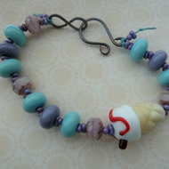Lampwork ice cream purple and blue bracelet